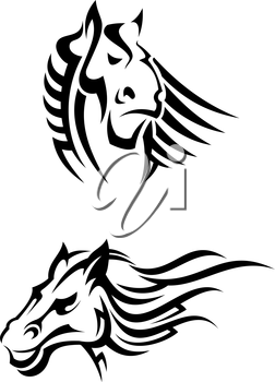 Tribal horses mascots for tattoo or another design