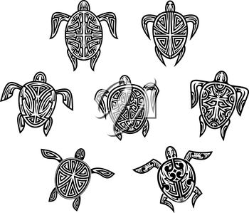Tribal turtles tattoos set isolated on white bnackground