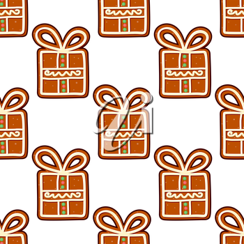 Gingerbread presents seamless pattern for christmas and new year holiday design