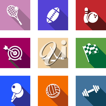 Set of flat sporting icons on colorful web buttons depicting tennis, football, bowling, archery, hockey, motor sport, table tennis, volleyball and dumbbell
