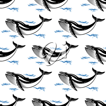Swimming whale seamless pattern with a baleen whale amongst ocean waves in square format for nautical themed wallpaper or fabric design