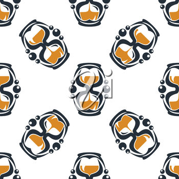 Seamless pattern of a stylized hourglass timers with the sand running through between the bulbs measuring the passing time