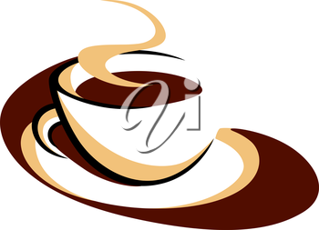 Brown and white doodle sketch of a stylized aromatic cup of hot steaming coffee for a delicious morning drink