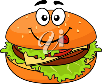 Tasty meaty cheeseburger on a sesame bun with lettuce licking its lips in anticipation of a delicious snack, cartoon illustration