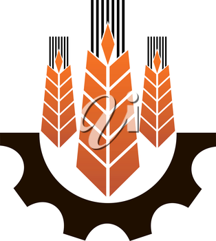 Icon depicting industry and agriculture with three ears of ripe golden wheat above a partial mechanical gear wheel depicting industry