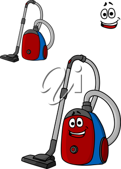 Smiling cartoon vacuum cleaner with a long hose and nozzle for home appliance design