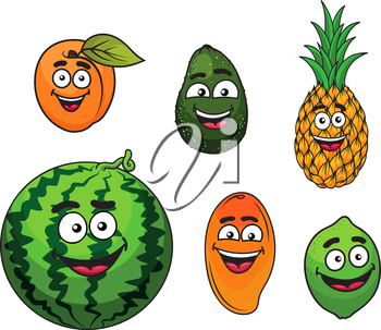 Fresh tropical fruits set wit a happy smiling apricot, avocado, pineapple, watermelon, mango and lime. Cartoon style