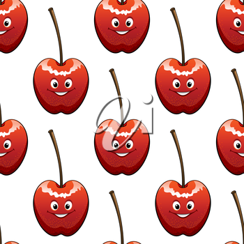 Seamless background pattern of ripe red cherries with happy smiling faces in square format for food industry or another design