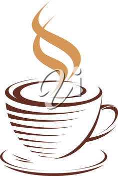 Brown and white vector doodle sketch of a cup of hot steaming coffee, isolated on white