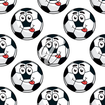 Goofy soccer ball with a happy smile in a seamless background pattern in square format