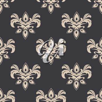 Damask style seamless pattern on grey with a cream colored repeat floral motif suitable for wallpaper, tiles and fabric design in square format