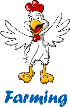 Cartoon rooster bird for agriculture and farming design
