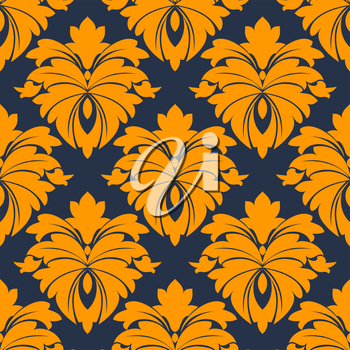 Damask seamless pattern in blue and orange for background, wallpaper of fabric design