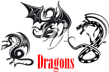 Black danger dragons in tribal style for tattoo, mascot or fairytale design