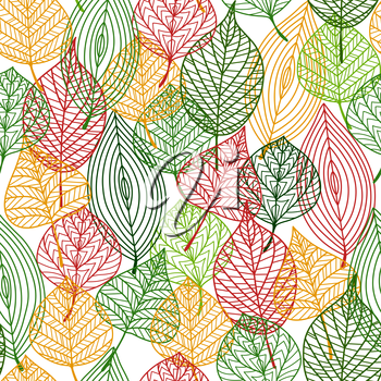 Autumnal stylized leaves seamless background pattern in the colors of autumn with a busy design in square format
