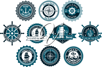 Circle marine heraldic labels with anchors, compass, sailboat and ropes for nautical and logo design