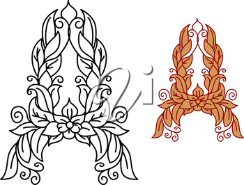 Letter A in floral and foliate font with swirling vine tendrils for organic, eco and medieval design. Black vector outline and a red brown color variation