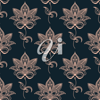 Pink paisley seamless floral pattern on dark indigo colored background. Suitable for wallpaper and textile design