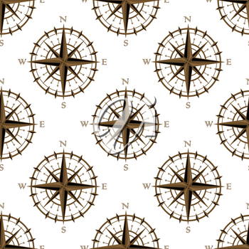 Seamless background pattern of a repeat motif of vintage navigation circular compass with star design or logo isolated on white background