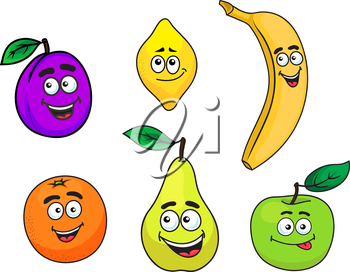 Happy cartoon cute plum, lemon, banana, orange, pear and apple fruit characters with face, smiling mouth and eyes. For beverage, vegetarian or agriculture design