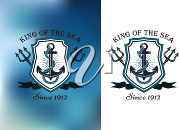 King Of The Sea nautical themed badge or logo showing a ships anchor in a frame with crossed tridents on a white and blurred blue background, vector illustration