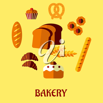 Bakery flat icons set isolated on background for infographics, cafe, restaurant or pastry menu design