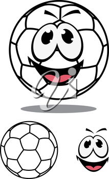 Happy soccer or football ball character with a plain white hexagonal pattern and smiling face and a second plain variation, cartoon vector illustration