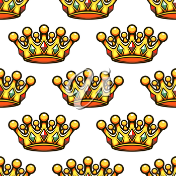 Seamless background pattern of a golden croyal rown studded with gemstones, vector illustration