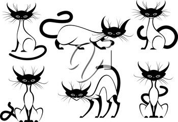 Set of elegant black and white cartoon vector cats with black heads, feet and tail in various poses