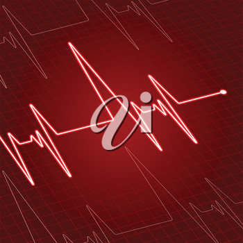 Close up heartbeat or electrocardiogram on screen for medicine and cardiology design