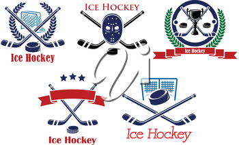 Ice Hockey heraldic emblems and symbols with hockey stick, puck, goalkeeper mask, trophy cup, laurel wreath, ribbons for sports or tournament design