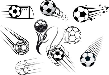 Flying soccer and football balls with motions trails for sports club or tournament logo design