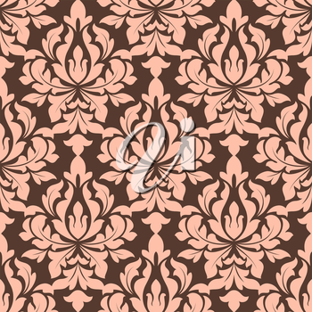 Beige and brown seamless floral pattern in damask style