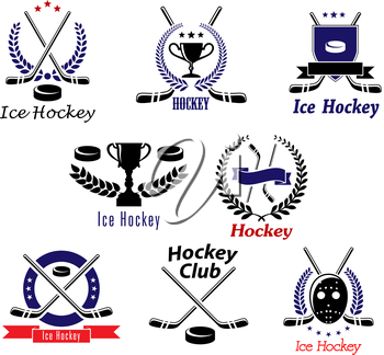 Ice hockey club symbols and emblems with crossed hockey sticks, pucks, mask, trophy cups bordered laurel wreaths, stars, shield and ribbon banners for hockey team logo or club attributes design