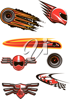 Racing and motorsport symbols in red and orange colors with helmet and speedometers in fire flames, racing cars on a checkered roads, motocross helmet and shield on handlebars