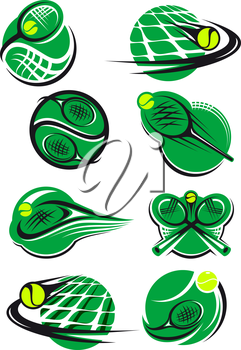 Green tennis icons with a ball, net and racket mostly depicting speed and motion for sports logo design