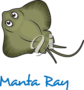 Cartoon manta ray viewed from above with large eyes and text Manta Ray below