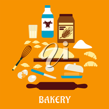 Process of kneading dough in flat style with icons of dough, milk, butter, eggs, flour and kitchen utensils