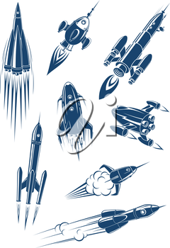 Cartoon spaceships and rockets in space isolated on white background