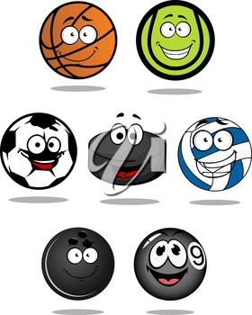 Set of cartoon sports balls characters for basketball, tennis, snooker, pool, bowling, football, hockey puck, and volleyball mascot design