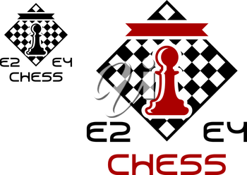 Red pawn on chess board with E2 and E4 signs for chess tournament design