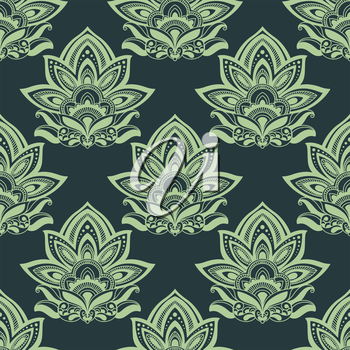 Indian ethnic styled seamless floral pattern in shades of green with elegant carved paisley flowers for fabric or interior design