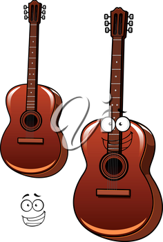 Cheerful six string classical acoustic guitar cartoon character with googly eyes and wide smile for acoustic concert or band design