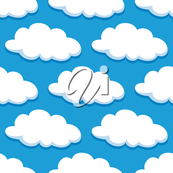 Cloudy sky seamless pattern with cartoon white clouds for background or weather concept design