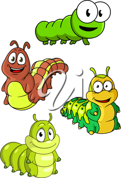 Cute colorful cartoon caterpillars characters with happy smiling faces and different patterns, isolated on white