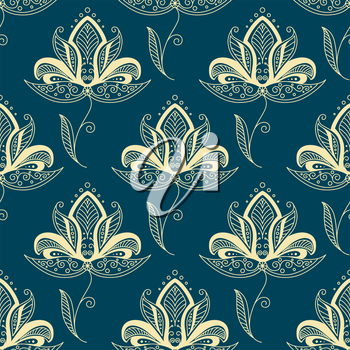 Vintage traditional paisley floral seamless pattern with beige flowers  decorated with oriental ethnic ornament on teal background for textile or interior design