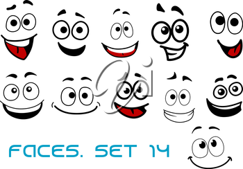 Smiling funny faces in cartoon comic style showing happiness, joyful and cheerful emotional expressions suitable for humor caricature or character design