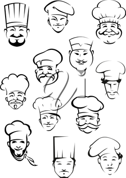 Professional chefs portraits showing multiethnic smiling mature and young mustached men in traditional toques for kitchen personnel or restaurant design