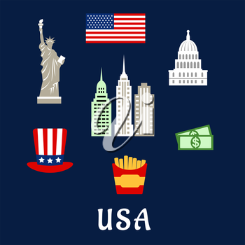 American symbols travel flat concept depicting national flag of USA, statue of Liberty, Capitol building, skyscrapers, star and stripes hat, dollars, fast food box with french fries