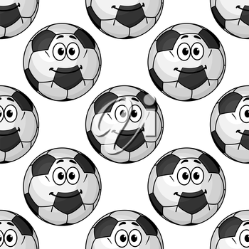 Football game seamless pattern with cute cartoon soccer ball characters on white background for sports design